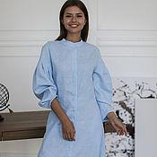 Одежда handmade. Livemaster - original item Linen dress with a blue stand-up collar. Handmade.