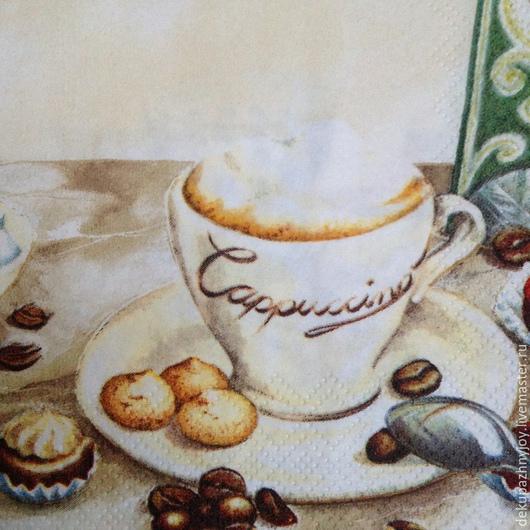 Чашка капучино с пенкой и чашка экспрессо со стаканом воды, шоколадки, печеньки, многоэлементная салфетка для декупажа Декупажная радость