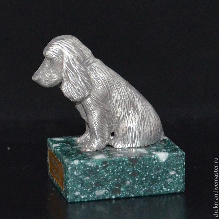 Миниатюрная фигурка `Спаниель`. Есть статуэтки собак других пород: болонка, эрдельтерьер, пудель, такса, пекинес. Есть фигурки других животных: медведь, слон, черепаха, кошка, мышь, крыса, змея (кобра