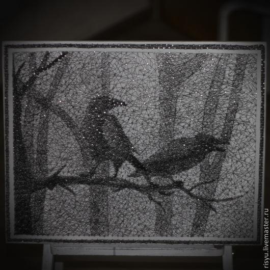 """Фантазийные сюжеты ручной работы. Ярмарка Мастеров - ручная работа. Купить картина """"Ночь"""" в стиле стринг арт. Handmade. панно"""