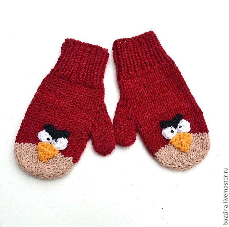 Купить Варежки детские вязаные Angry birds - варежки ...
