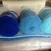 Сливер мерино цветной- любимый- 3цв.Бирюза-Голубой-Синий НовЗеландия