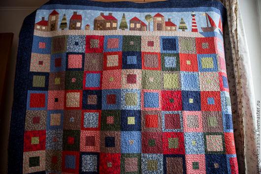 Текстиль, ковры ручной работы. Ярмарка Мастеров - ручная работа. Купить Городок на море. Handmade. Лоскутное шитье, стежка