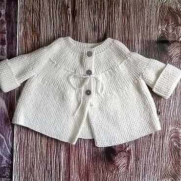 Работы для детей, ручной работы. Ярмарка Мастеров - ручная работа Кофта жакет для новорожденного на 0-6мес, теплая одежда. Handmade.