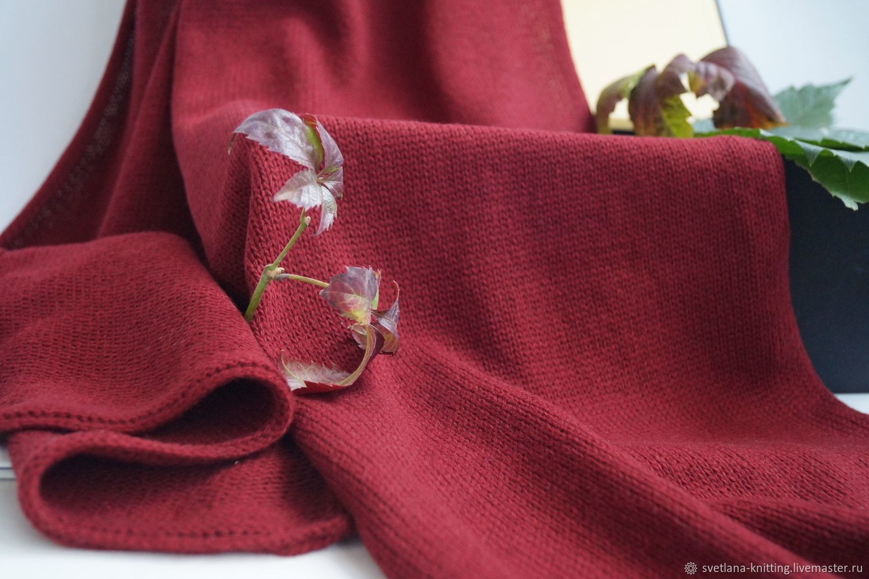 Шарф меринос винно-красный осенний зимний, Шарфы, Оренбург,  Фото №1