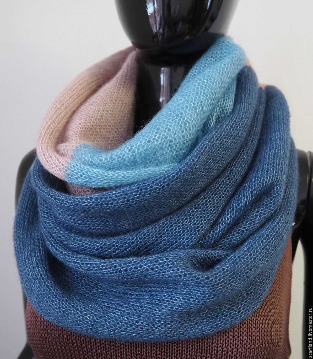 Snood tricolor from kid-mohair silk, Scarves, Cheboksary,  Фото №1