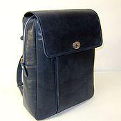 Сумки и аксессуары handmade. Livemaster - original item Backpack female genuine leather dark blue pul-ap. The towns backpack. Handmade.