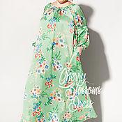 Одежда ручной работы. Ярмарка Мастеров - ручная работа Зеленое оверсайз макси цветочное бохо платье с длинными рукавами. Handmade.