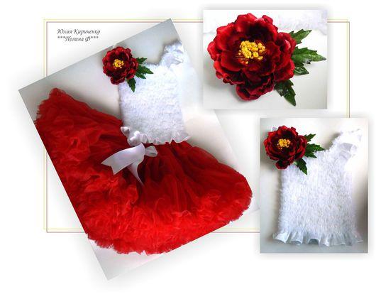 Одежда для девочек, ручной работы. Ярмарка Мастеров - ручная работа. Купить Праздничный комплект. Handmade. Белый, праздничный, красный, красотка