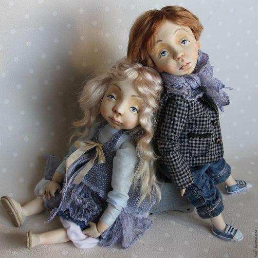 Коллекционные куклы ручной работы. Ярмарка Мастеров - ручная работа. Купить Аня и Ваня куклы будуарные подвижные. Handmade. Комбинированный