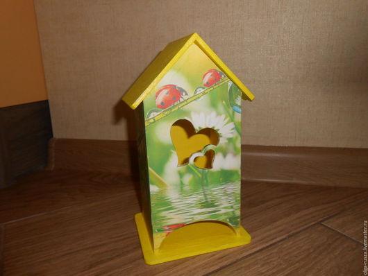 """Кухня ручной работы. Ярмарка Мастеров - ручная работа. Купить Чайный домик """"Букашки"""". Handmade. Желтый, домик для чайных пакетов"""