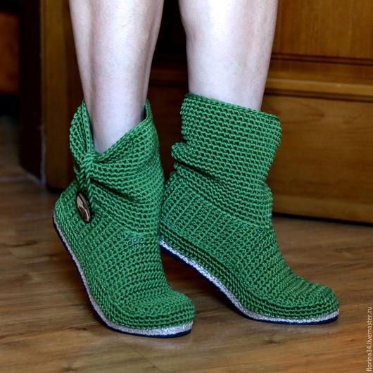 Обувь ручной работы. Ярмарка Мастеров - ручная работа. Купить Сапожки уличные зеленые, хлопок,. Handmade. Сапожки крючком, бохо