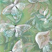 """Картины и панно ручной работы. Ярмарка Мастеров - ручная работа Р! Трехслойная картина на шелке """"Бабочкины свадьбы"""". Handmade."""
