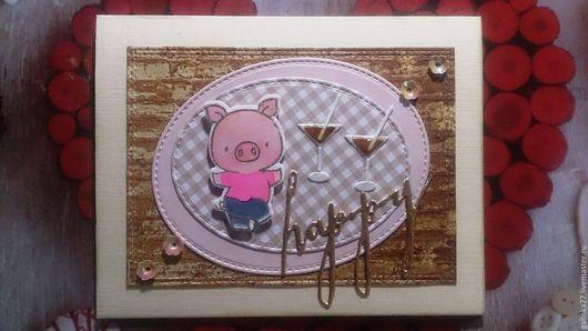 """Открытки на все случаи жизни ручной работы. Ярмарка Мастеров - ручная работа. Купить Открытка """"А я стояла вся в розовом свитере!"""". Handmade."""