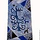 Фрагмент сине-серого галстука `Дерево желаний`