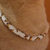 Зоотовары handmade. Livemaster - original item The collar is WHITE WITH GOLD beaded. Handmade.