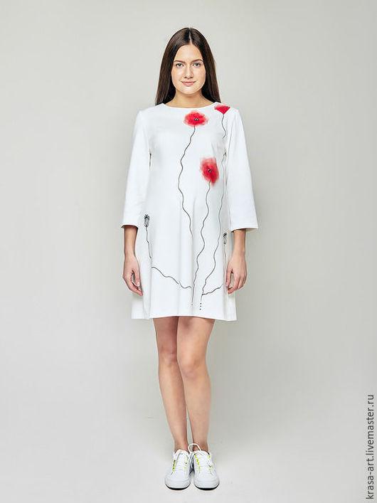 Платья ручной работы. Ярмарка Мастеров - ручная работа. Купить платье Маки лайт. Handmade. Белый, платье коктейльное