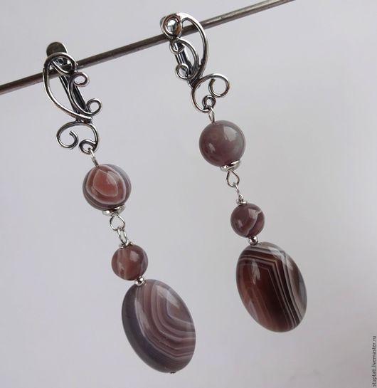 """Серьги ручной работы. Ярмарка Мастеров - ручная работа. Купить Серьги из натурального камня агата ботсвана """"Благородный камень"""". Handmade."""
