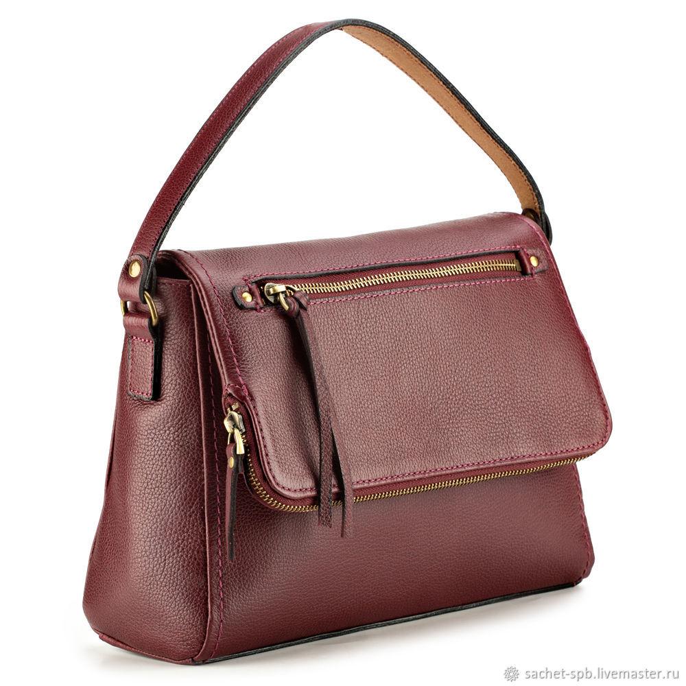 Women's leather bag 'kat' (maroon), Classic Bag, St. Petersburg,  Фото №1