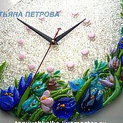 """Часы ручной работы. Ярмарка Мастеров - ручная работа ЧАСЫ """"Подснежники"""" стекло, фьюзинг. Handmade."""