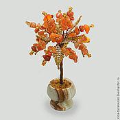 Цветы и флористика handmade. Livemaster - original item Miniature tree of happiness carnelian stone in a vase of onyx. Handmade.