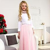 Одежда ручной работы. Ярмарка Мастеров - ручная работа Длинная юбка-пачка из оригинального еврофатина пыльно-розовая. Handmade.