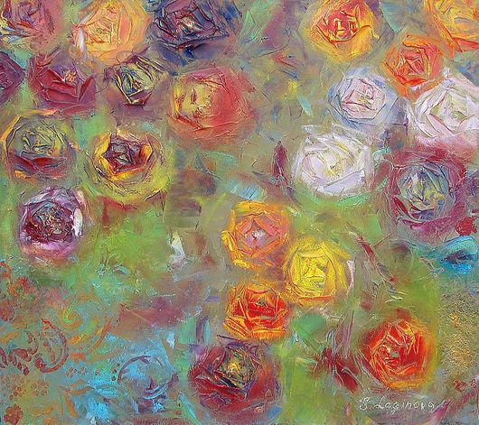 Картины цветов ручной работы. Ярмарка Мастеров - ручная работа. Купить Поцелуи Роз-картина маслом розы. Handmade. Красный