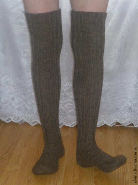 Носки, Чулки ручной работы. Ярмарка Мастеров - ручная работа. Купить Экосерия- Носки-чулки шерстяные для рыбака/охотника. Handmade. Коричневый