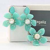 """Комплект Regaliz """"Мятное цветение"""" кольцо и серьги"""