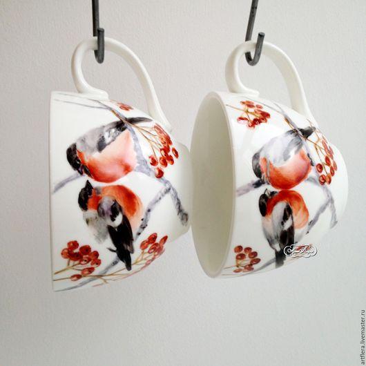 Сервизы, чайные пары ручной работы. Ярмарка Мастеров - ручная работа. Купить Роспись фарфора Чайная пара Снегири. Handmade.