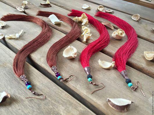 Серьги ручной работы. Ярмарка Мастеров - ручная работа. Купить Длинные серьги-кисти  (бохо, этно, винтаж, хиппи). Handmade.