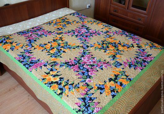 """Текстиль, ковры ручной работы. Ярмарка Мастеров - ручная работа. Купить Покрывало """"Цветочная клумба"""". Handmade. Покрывало пэчворк, квилтинг"""