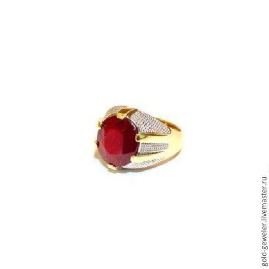 Золотое кольцо `PHARAOH RED`  с природным рубином
