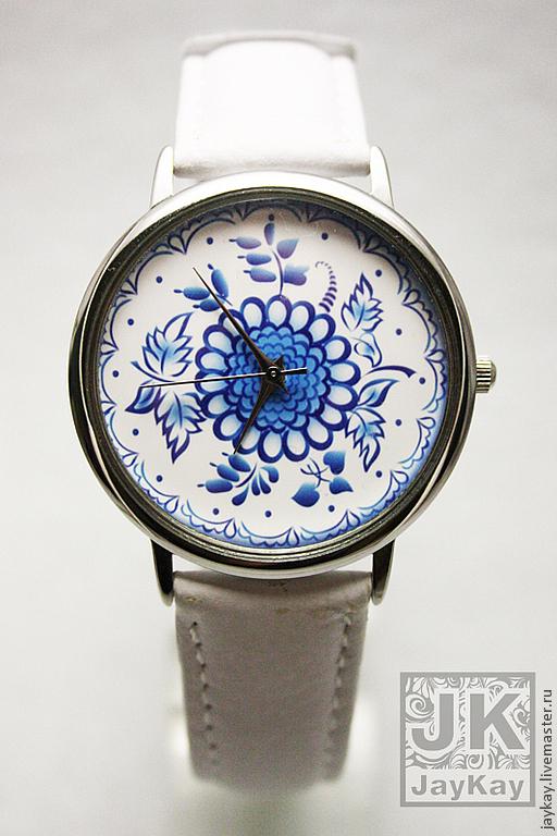 "Часы ручной работы. Ярмарка Мастеров - ручная работа. Купить Часы наручные JK ""Гжель"" 2. Handmade. Наручные часы"