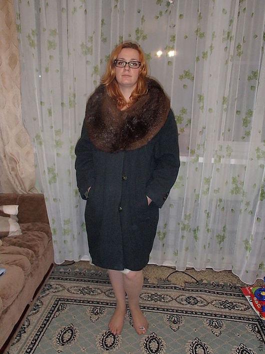 Верхняя одежда ручной работы. Ярмарка Мастеров - ручная работа. Купить Пальто с бобровым воротником. Handmade. Тёмно-зелёный, вискоза