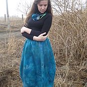 Одежда handmade. Livemaster - original item Felted balloon skirt deep Sea. Handmade.