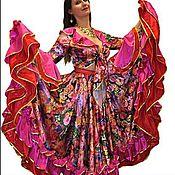"""Костюмы ручной работы. Ярмарка Мастеров - ручная работа Цыганский костюм """"Пестрый розовый с двойной оборкой"""". Handmade."""