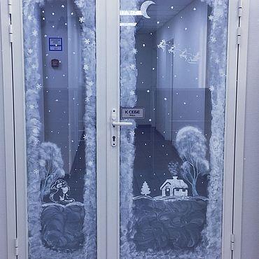 Дизайн и реклама ручной работы. Ярмарка Мастеров - ручная работа Услуга по оформлению окон/стеклянных дверей к Новому году. Handmade.
