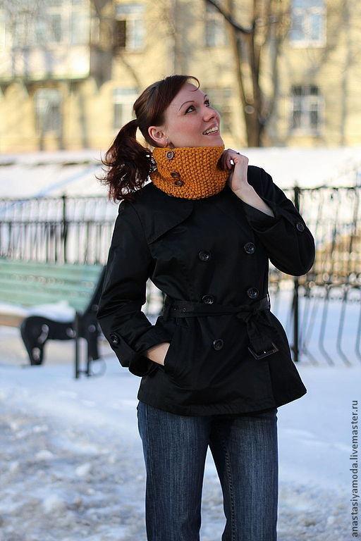 Шарфы и шарфики ручной работы. Ярмарка Мастеров - ручная работа. Купить Маленький уютный шарфик горчичного цвета. Handmade. Рыжий