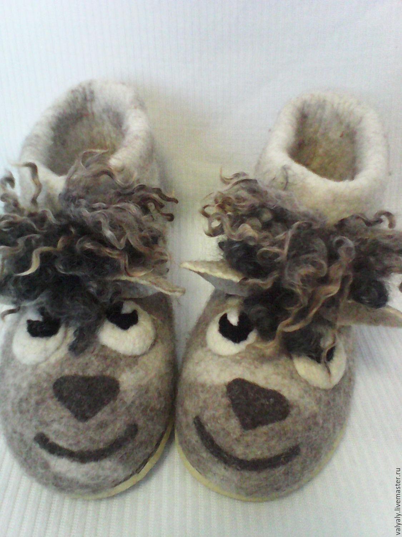 """валяная домашняя обувь """"Серая  овечка"""" сделаю на заказ, Тапочки, Ковров, Фото №1"""
