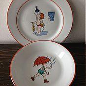 """Посуда ручной работы. Ярмарка Мастеров - ручная работа Набор детской посуды """"Дождики бывают разные"""". Handmade."""