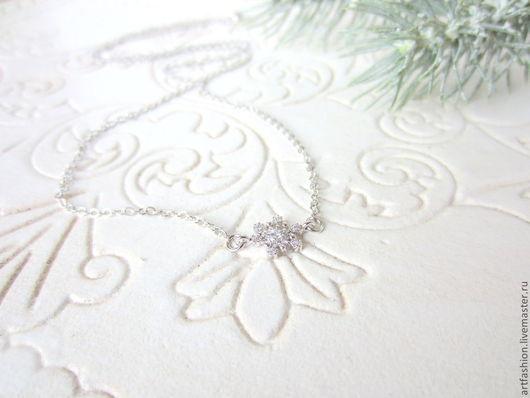 Подвеска от Марии Гребст Первый снег  с фианитами.Серебряная подвеска Первый снег, инкрустированная фианитами. Кулон серебряный авторский Первый снег