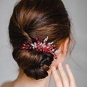 Свадебный салон ручной работы. Ярмарка Мастеров - ручная работа Свадебный красно-бордовый гребень MARSALA марсала. Handmade.