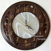 Для дома и интерьера handmade. Livemaster - original item Round wooden wall clock with stained glass, mirror. Handmade.