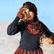 Платье из коллекции Графиня (набивной красный велтвет)