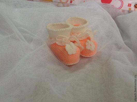 Для новорожденных, ручной работы. Ярмарка Мастеров - ручная работа. Купить пинетки малышам. Handmade. Комбинированный, пинетки для новорожденных