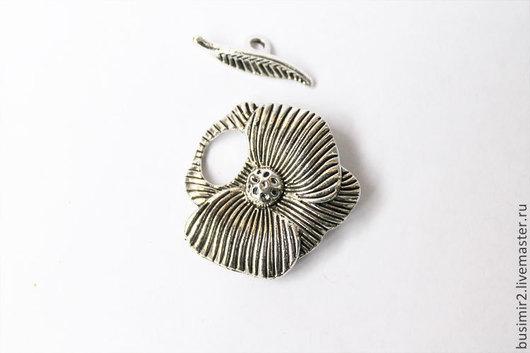 Тогл (замочек, застежка), цвет - серебро. Фурнитура для создания украшений. Busimir