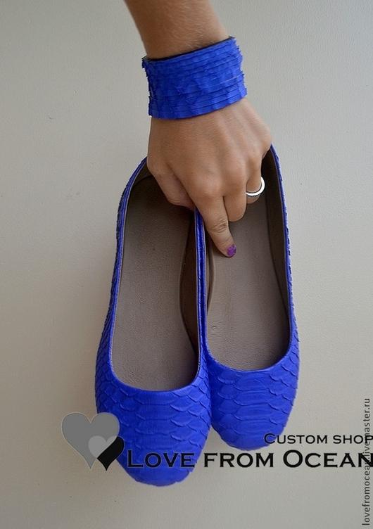 Обувь ручной работы. Ярмарка Мастеров - ручная работа. Купить Балетки (обувь) из натуральной кожи питона. Handmade. Разноцветный