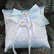 """Свадебный салон handmade. Livemaster - original item Подушечка для колец(для загса)""""Bleu l etoile"""". Handmade."""