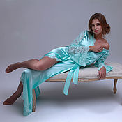 Одежда handmade. Livemaster - original item Long Silk Bridal Robe with Lace Sleeves F6, Bridal Lingerie. Handmade.